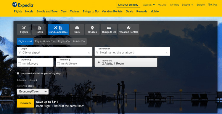 expedia hotel booking site