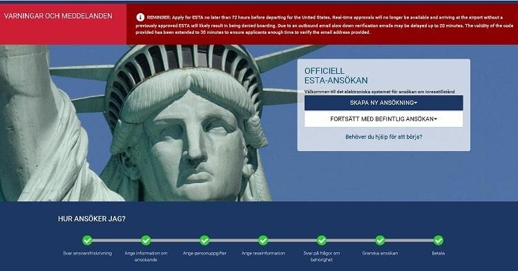 ESTA Ansökan för Inresetillstånd till USA