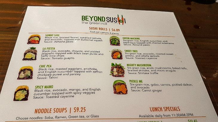 beyond sushi meny