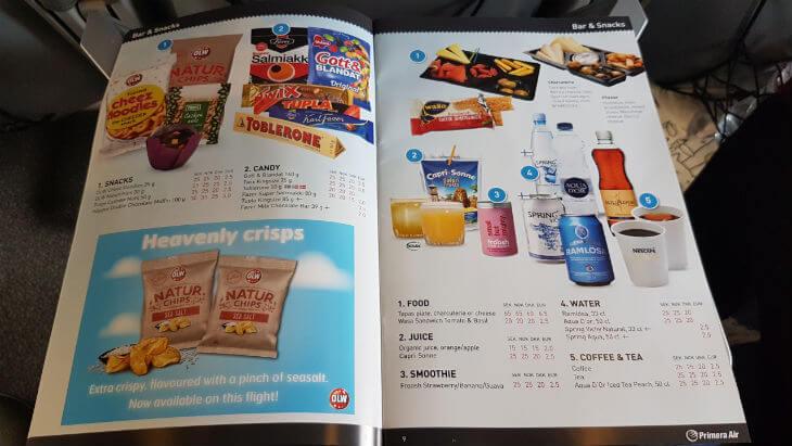 primera air menu