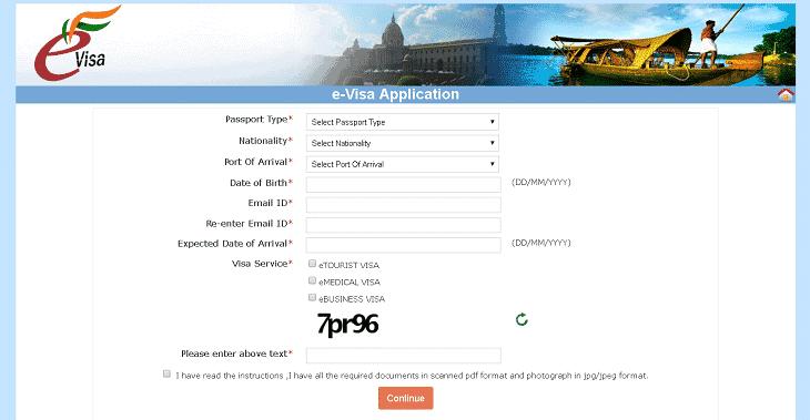 E-visum till indien