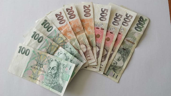 Czech currency banknotes