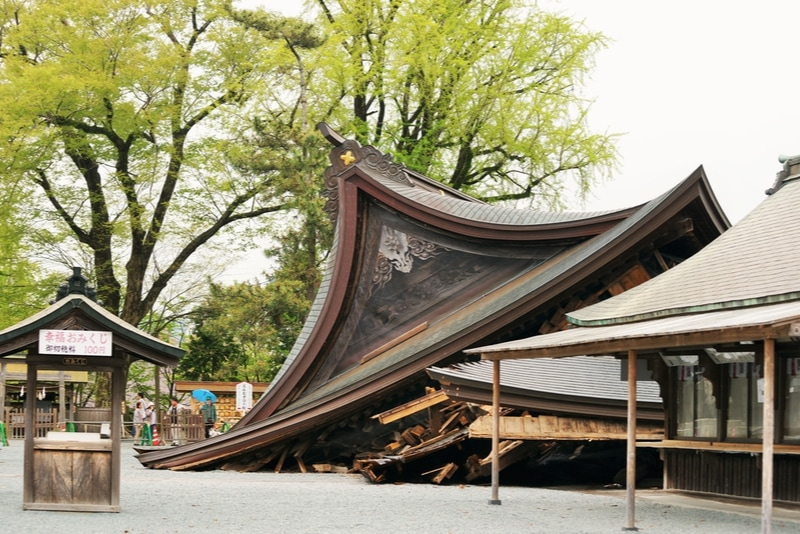 Damaged shrine from an earthquake in Japan