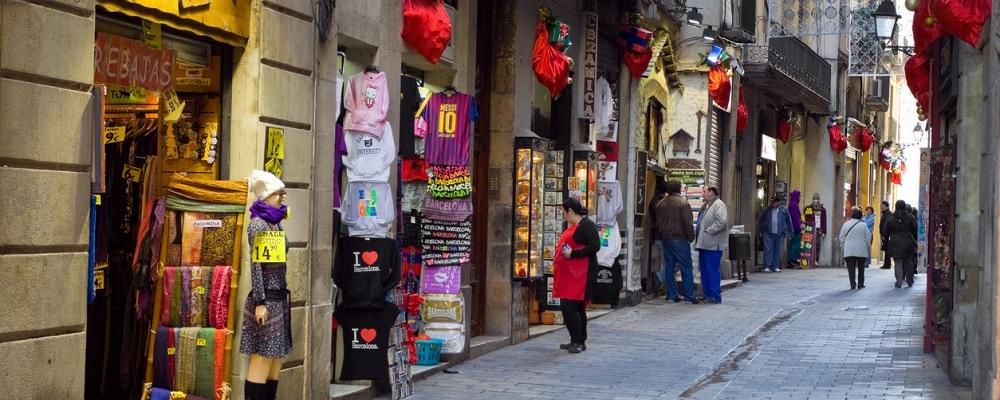 Shopping street in Barri Gòtic of Barcelona