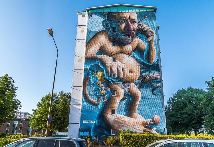 smug troll mural