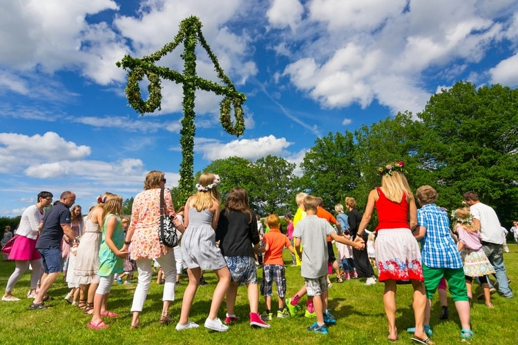 Dancing at Swedish Midsummer