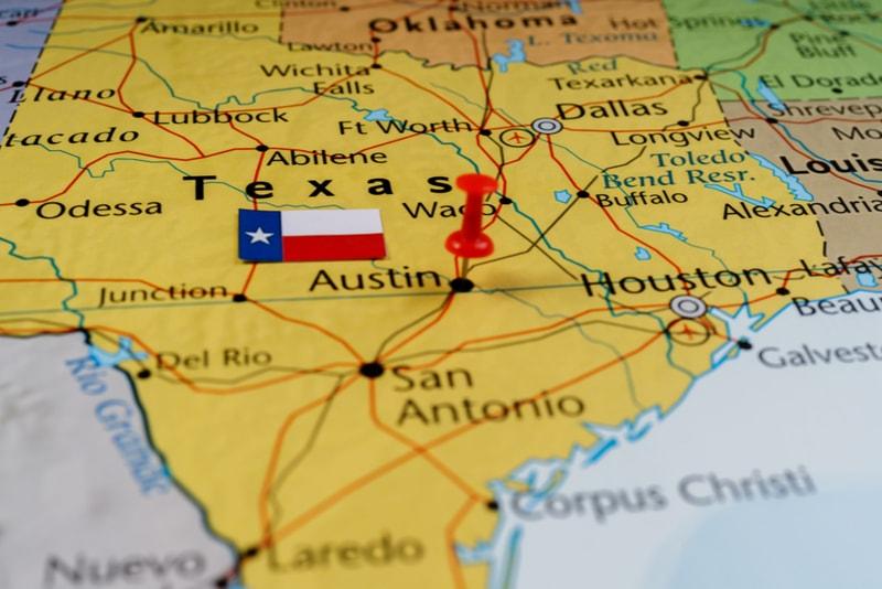 Texas flag on a map