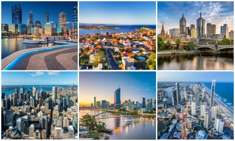 Largest cities in Australia by population and area