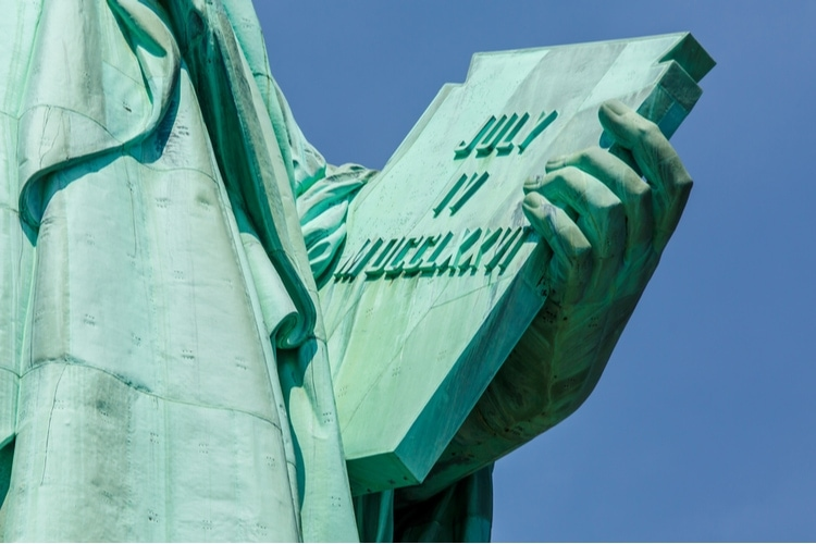 Stenplatta med amerikanska självständighetsdeklarationen