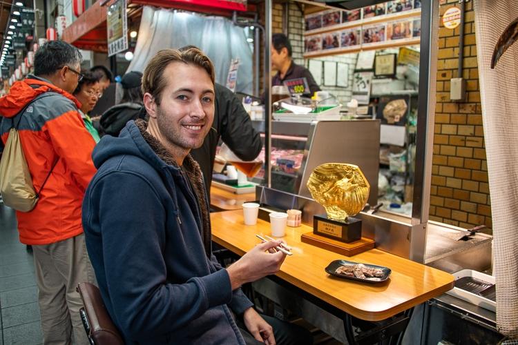 Äta kobe biff i Japan