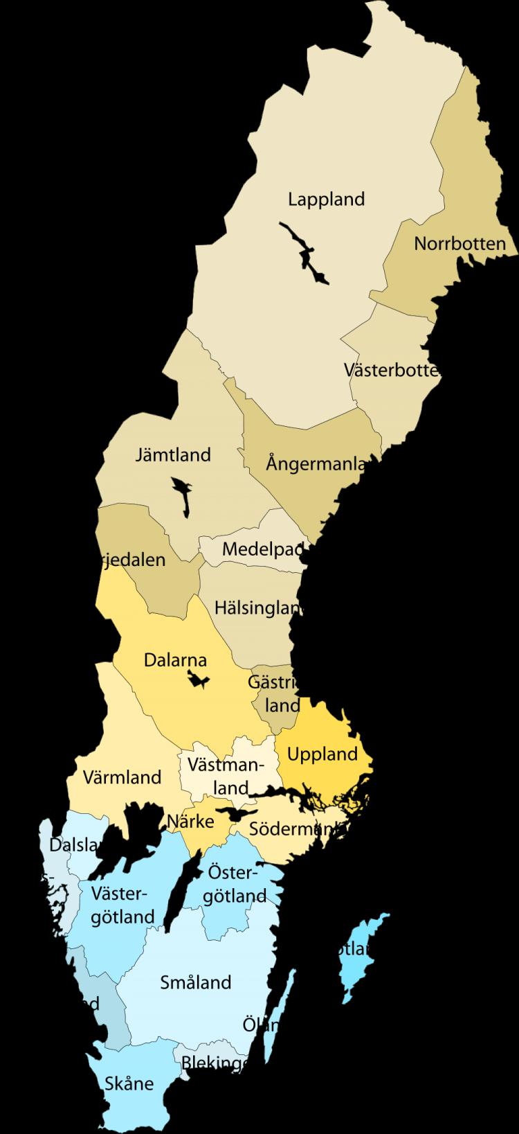 Sverige landskapskarta