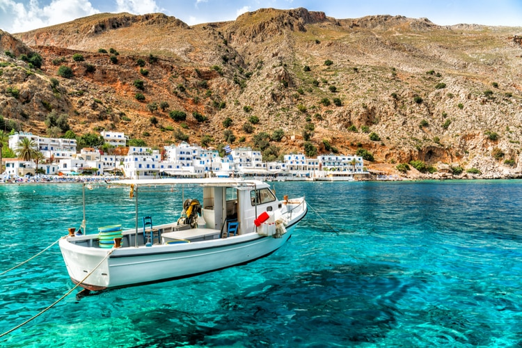 Loutro, a small fishing village in Greek island of Crete