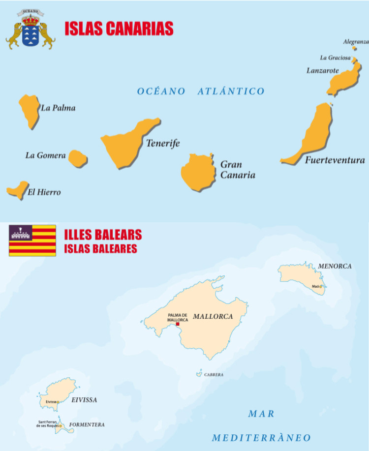 Karta med spanska öar