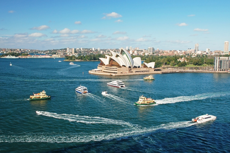 Ferry to the Opera House in Sydney