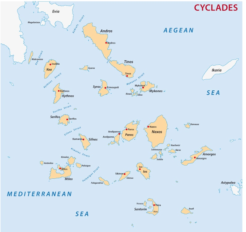 Greek island group Cyclades