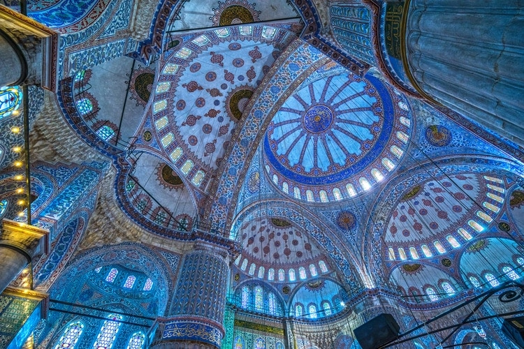 blue windows in Sultanahmet Mosque
