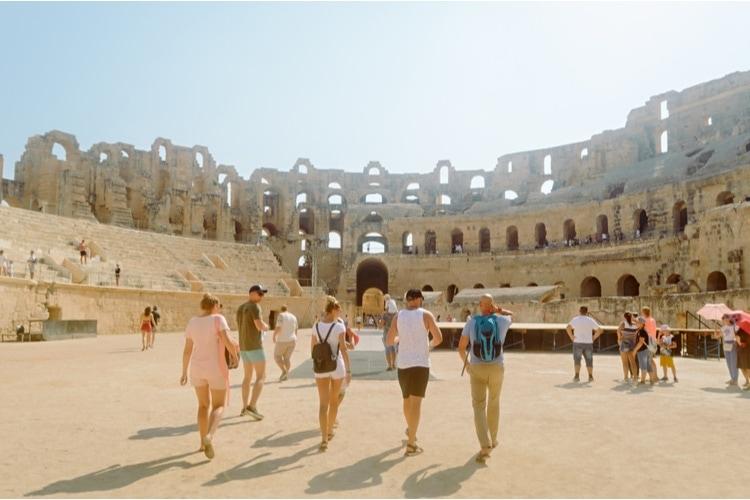 tourists at El Jem