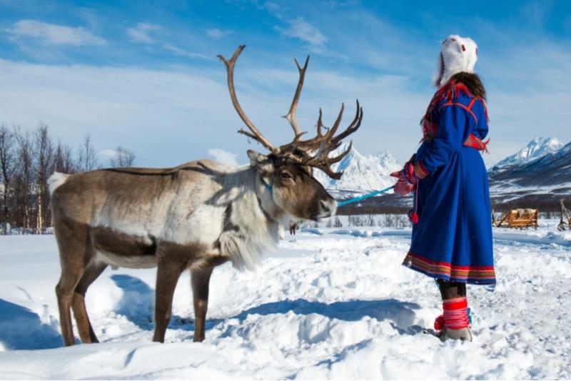 Samekvinna som pratar samiska med sin ren