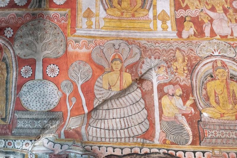 Sri Lankan fresco in Dambulla royal cave