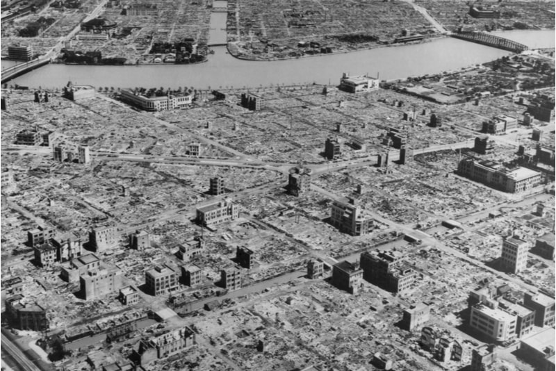 Tokyo in ruins after bombings during WWII