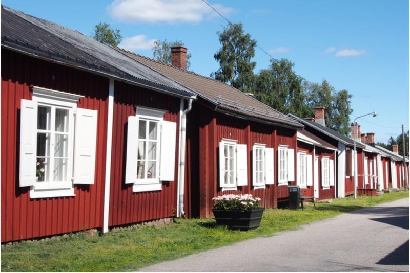 Röda hus i Gammelstad Kyrkstad