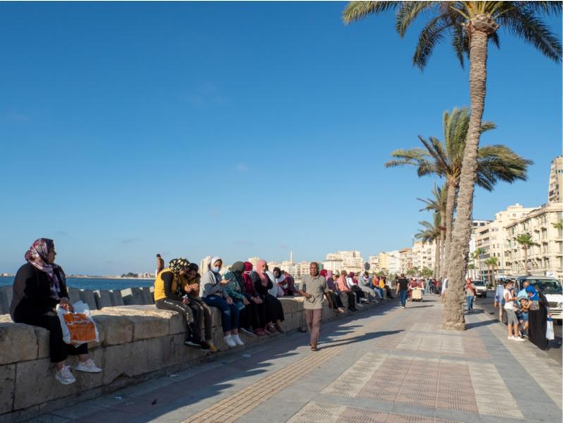 Corniche in Alexandria Egypt