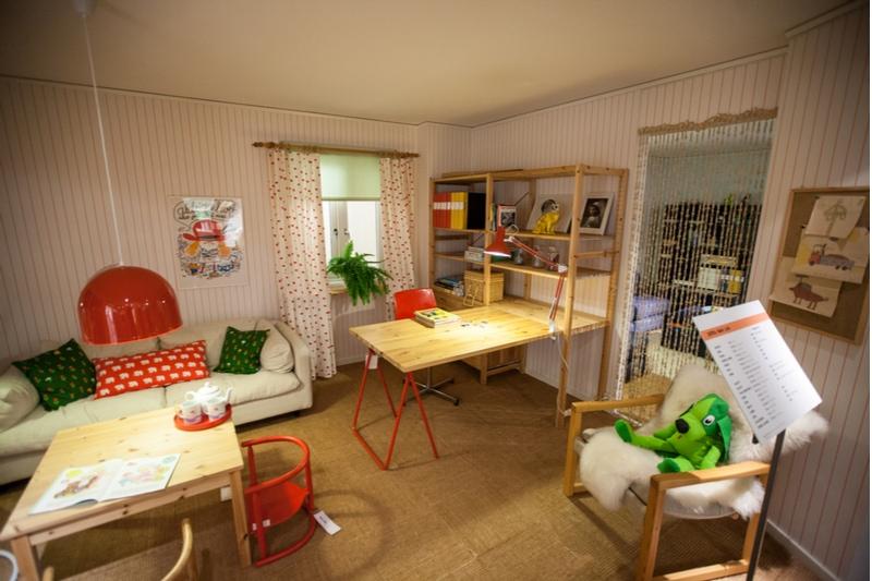 Ett inrett rum på Ikea museet