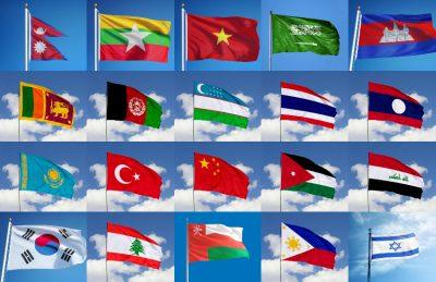 Asien flaggor